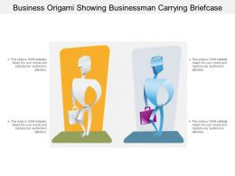 Business Origami Showing Businessman Carrying Briefcase