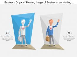 Business Origami Showing Image Of Businessman Holding Briefcase And Waving