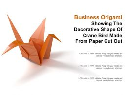 Business Origami Showing The Decorative Shape Of Crane Bird Made From Paper Cut Out