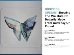 Business Origami Showing The Miniature Of Butterfly Made From Currency Or Pound
