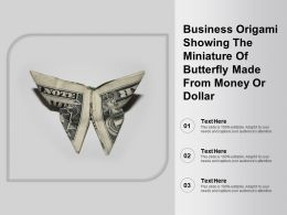 Business Origami Showing The Miniature Of Butterfly Made From Money Or Dollar