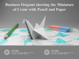 Business Origami Showing The Miniature Of Crane With Pencil And Paper