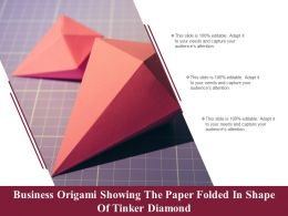 Business Origami Showing The Paper Folded In Shape Of Tinker Diamond