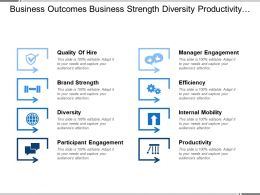 Business Outcomes Business Strength Diversity Productivity With Icons