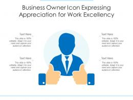 Business Owner Icon Expressing Appreciation For Work Excellency