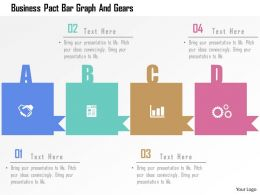 Business Pact Bar Graph And Gears Flat Powerpoint Design