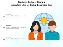 Business Partners Sharing Innovative Idea For Global Expansion Icon
