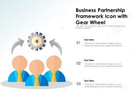 Business Partnership Framework Icon With Gear Wheel