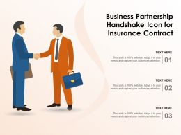 Business Partnership Handshake Icon For Insurance Contract