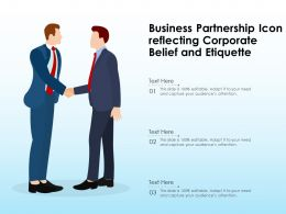 Business Partnership Icon Reflecting Corporate Belief And Etiquette
