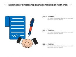 Business Partnership Management Icon With Pen