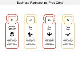 Business Partnerships Pros Cons Ppt Powerpoint Presentation Show Outline Cpb