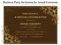 Business Party Invitation For Award Ceremony