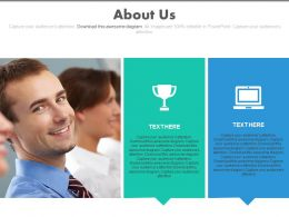 Business People And Tags And Trophy And Computer For About Us Powerpoint Slide