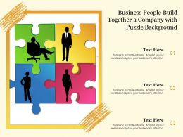Business People Build Together A Company With Puzzle Background
