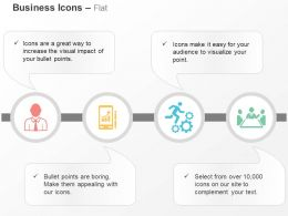 Business People Mobile Bar Graph Gears Team Ppt Icons Graphics