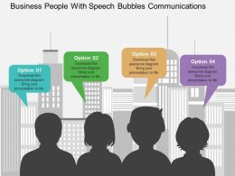 Business People With Speech Bubbles Communications Flat Powerpoint Design