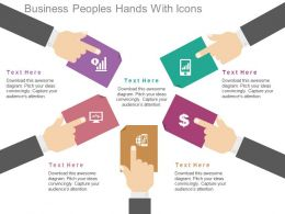 Business Peoples Hands With Icons Flat Powerpoint Design