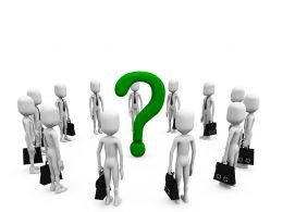 Business Peoples In Circle And Question Mark In Middle Stock Photo