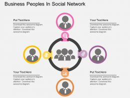 Business Peoples In Social Network Flat Powerpoint Design
