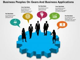 Business Peoples On Gears And Business Applications Flat Powerpoint Design