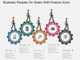Business Peoples On Gears With Finance Icons Flat Powerpoint Desgin