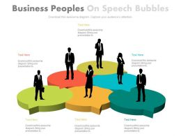 Business Peoples On Speech Bubbles Powerpoint Slide