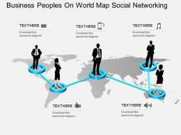 Business Peoples On World Map Social Networking Flat Powerpoint Design