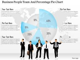 Business Peoples Team And Percentage Pie Chart Ppt Presentation Slides
