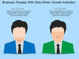 Business Peoples With Data Driven Growth Indication Powerpoint Slides