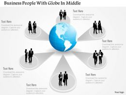 Business Peoples With Globe In Middle Ppt Presentation Slides