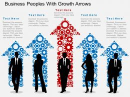 Business Peoples With Growth Arrows Flat Powerpoint Desgin