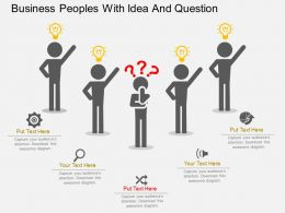Business Peoples With Idea And Question Flat Powerpoint Design