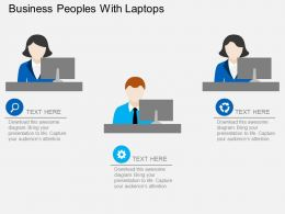 Business Peoples With Laptops Flat Powerpoint Design