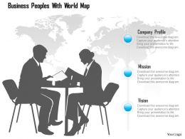 Business Peoples With World Map Ppt Presentation Slides