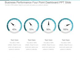 Business Performance Four Point Dashboard Ppt Slide