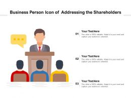 Business Person Icon Of Addressing The Shareholders