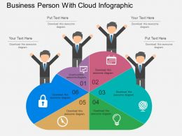 Business Person With Cloud Infographic Flat Powerpoint Design