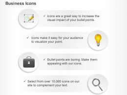 Business Pie Chart Bulb Idea Generation Suitcase Magnifier Ppt Icons Graphics