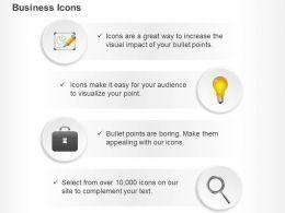 business_pie_chart_bulb_idea_generation_suitcase_magnifier_ppt_icons_graphics_Slide01