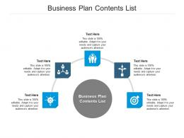 Business Plan Contents List Ppt Powerpoint Presentation Outline Icons Cpb