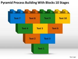 Business Plan Diagram Pyramid Process Building With Blocks 10 Stages Powerpoint Templates