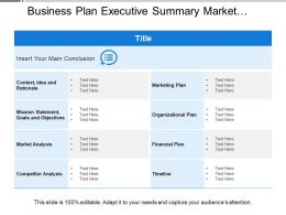 Business Plan Executive Summary Market Competitor Analysis