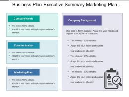 Business Plan Executive Summary Marketing Plan Company Goals Background