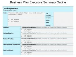 Business Plan Executive Summary Outline Powerpoint Templates