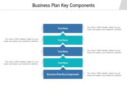 Business Plan Key Components Ppt Powerpoint Presentation Visual Aids Deck Cpb