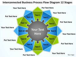 Business Plan Process Flow Diagram 12 Stages Powerpoint Templates PPT Backgrounds For Slides 0530
