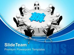 Business Plan Strategy Templates Person With Table Puzzle Jigsaw Ppt Slides Powerpoint