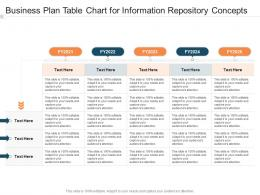 Business Plan Table Chart For Information Repository Concepts Infographic Template