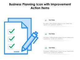 Business Planning Icon With Improvement Action Items